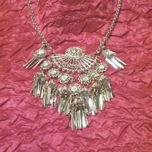 Ethnic Inspired Silver Tone Statement Necklace